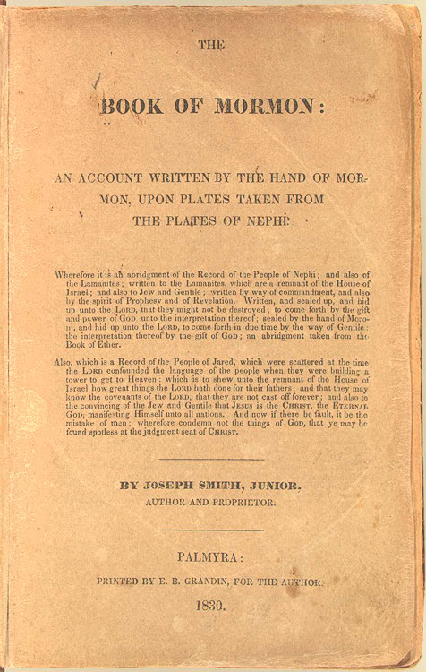 The Book Of Mormon  An Account Written By The Hand Of Mormon Upon Plates Taken From The Plates Of Nephi